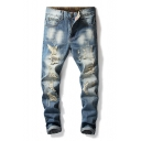 Men's Vintage Light Washed Regular Fit Light Blue Ripped Jeans