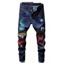 Guys Cool Colorful Painting Letter Patched Dark Blue Ripped Stretch Fitted Jeans