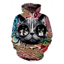 Creative Funny Glasses Cat 3D Printed Pullover Sport Loose Unisex Hoodie