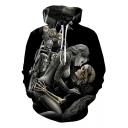 Funny Cool Skull Figure 3D Printed Casual Leisure Black Hoodie