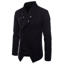Men's Lapel Collar Long Sleeve Solid Slim-Fit Asymmetric Hem Fitted Jacket