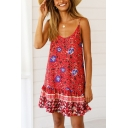 Women's Holiday Floral Printed Ruffled Hem Mini Swing Cami Dress