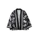 Black Constellation Pattern Three-Quarter Sleeves Kimono Loose Cardigan Suntan-Proof Wear Tops