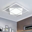 Black/White Square Ring Flush Light with Acrylic Shade Simplicity LED Ceiling Lamp for Sitting Room