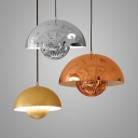 Mirrored/Dome Pendant Lamp Post Modern Metallic 1 Head Hanging Light Fixture in Rose Gold/Chrome/Brushed Brass