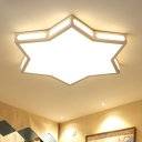 Children Room Hexagram Flush Light Modern Design Acrylic LED Ceiling Flush Mount in White