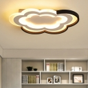 Kindergarten Cloud Shape Flush Light with Acrylic Shade Modern LED Ceiling Fixture in Warm/White