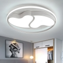 Adorable Acrylic Ceiling Light with Double Loving Heart Black/White LED Flush Light Fixture for Bedroom