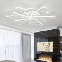 White Integrated LED Semi Flush Mount with Heart Shape Acrylic Ceiling Fixture for Children Room