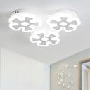 Energy Saving Blossom LED Flush Light Modern Bedroom Acrylic 3 Heads Ceiling Fixture in White