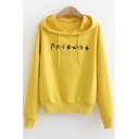 Popular Letter FRIENDS Basic Casual Relaxed Pullover Drawstring Hoodie