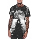 New Stylish 3D Galaxy Printed Short Sleeve Round Neck Hipster Grey T-Shirt