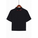 Simple Letter DESTINY High Neck Basic Short Sleeve Cropped Black T-Shirt