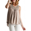 Summer Fashion Lace-Panelled Round Neck Sleeveless Tank Top