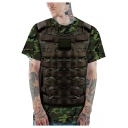 Cool 3D Armour Vest Pattern Short Sleeve Round Neck Green T-Shirt