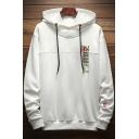 Simple Letter M Embroidery Fashion Patched Chest Long Sleeve Loose Fit Drawstring Hoodie