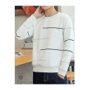 Men's Simple Stripe Pattern Basic Crewneck Long Sleeve Pullover Sweatshirt