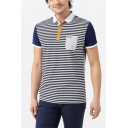 Summer Fashion Colorblock Striped Printed Short Sleeve Pocket Patched Chest Navy Polo