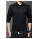 Mens Basic Simple Plain Long Sleeve Slim Fitted Button-Up Formal Business Dress Shirt