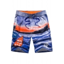 Summer Stylish Wave Printed Drawstring Waist Quick-Dry Casual Loose Swim Shorts