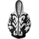 Kingdom Hearts Fashion Colorblocked Long Sleeve Cosplay Costume Zip Up Black and White Hoodie