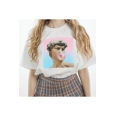 Funny Portrait Printed Summer Casual Loose White T-Shirt