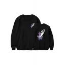 American Music Producer and DJ Cartoon Hobby Horse Printed Basic Round Neck Long Sleeve Pullover Sweatshirt