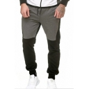 Mens New Fashion Colorblock Drawstring Waist Sporty Casual Grey Sweatpants