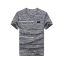 Simple Stripe Printed Fashion Heather Color Short Sleeve Dry-Fit Summer Basic T-Shirt for Men