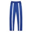 Cosplay Costume Printed Elastic Waist Loose Fit Blue Sport Pants