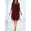 Womens Summer Three-Quarter Sleeve Round Neck Asymmetric Hem Midi Chiffon Dress