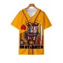 Cool Funny 3D King Queen Poker Card Print Short Sleeve Button-Down Casual Baseball Shirt