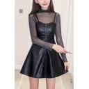 Womens New Fashion Button-Down Black Mini A-Line PU Cami Dress Two-Piece Dress