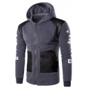 Mens Fashion Leather Patched Number Letter Print Zip Up Fitted Hoodie