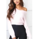 Simple Plain Long Sleeve Boat Neck Pullover Sweater