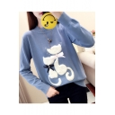 Long Sleeve Mock Neck Cartoon Cat Bow Patch Leisure Chic Sweater