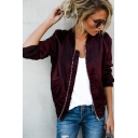 Plain Stand Up Collar Long Sleeve Zip Up Leisure Jacket