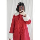 Lovely Long Sleeve Lapel Collar Bow Embellished Single Breasted Fleece Cuffs Lolita Woolen Coat