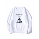 AFTER ALL THIS TIME Classic Line Print Basic Long Sleeve Unisex Pullover Sweatshirt