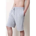 Men's Summer Comfortable Modal Slouch Drawstring Waist Plain Loose Lounge Shorts