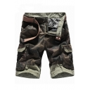 New Trendy Classic Camo Printed Flap Pocket Side Mens Casual Cotton Military Cargo Shorts