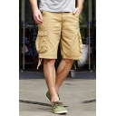 Guys Summer Outdoor Fashion Simple Plain Cotton Unique Ribbon Detail Military Cargo Shorts
