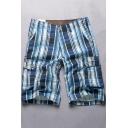 Men's Trendy Check Pattern Button Pocket Cotton Loose Casual Cargo Shorts