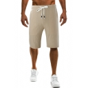 Men's Summer Solid Color Drawstring-Waist Straight Relaxed Cotton Casual Shorts