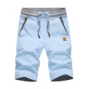 Guys Summer Trendy Stripe Patched Pocket Drawstring Waist Cotton Fitted Shorts