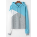 Fashion Color Block Long Sleeve Drawstring Hoodie for Women