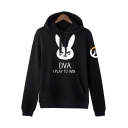 Overwatch Game Logo Popular Letter DVA I PLAY TO WIN Print Basic Long Sleeve Black Hoodie