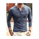Mens Fashion Heather Color V-Neck Long Sleeve Slim Fit Slub Cotton Henley T-Shirt