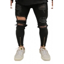 Guys New Stylish Zip Cuff Torn Skinny Fit Black Ripped Jeans