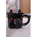 Creative Stylish Cute Cat Design Office Black Ceramic Mug Cup 301-400ml